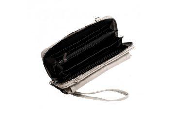 Grote grijze portemonnee met pols en schouderband binnenkant