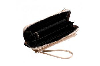 Grote beige portemonnee met pols en schouderband binnenkant