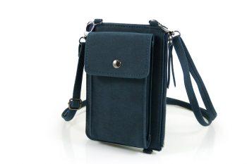 Telefoontasje donker blauw met extra vakjes voorkant
