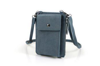 Telefoontasje grijs blauw met extra vakjes voorkant