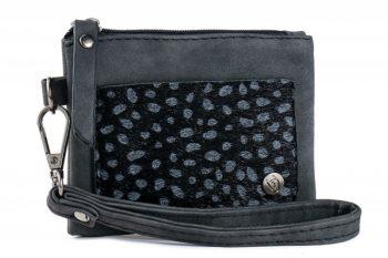 Klein zak portemonneetje met panter vachtje zwart wit