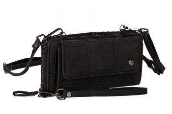 Grote zwarte portemonnee met pols en schouderband voorkant
