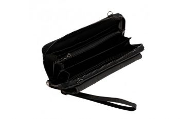 Grote zwarte portemonnee met pols en schouderband binnenkant