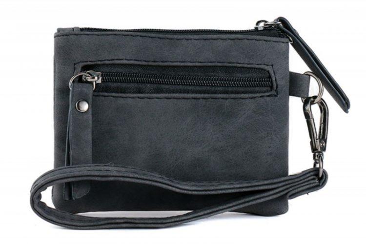 Klein zak portemonneetje met giraffe vachtje zwart achterkant