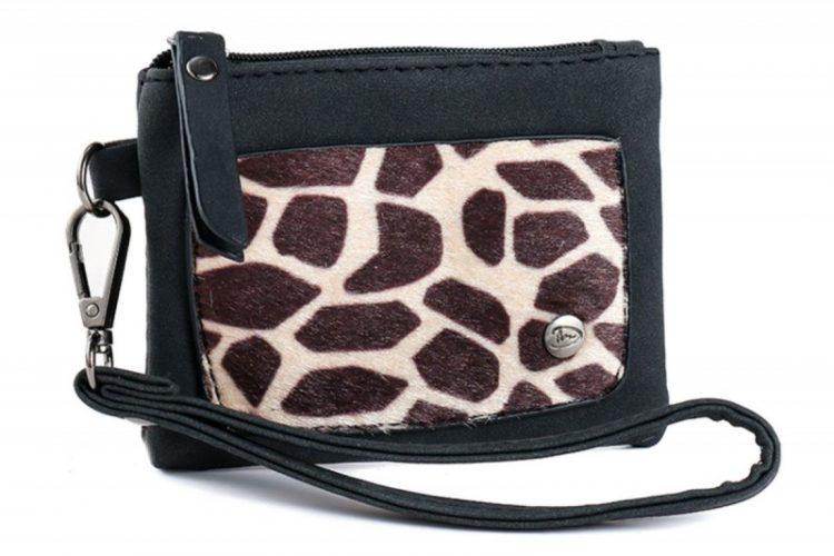 Klein zak portemonneetje met giraffe vachtje zwart