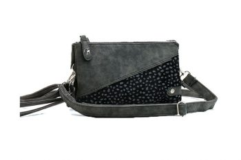 Klein tasje met panterprint vachtje zwart voorkant