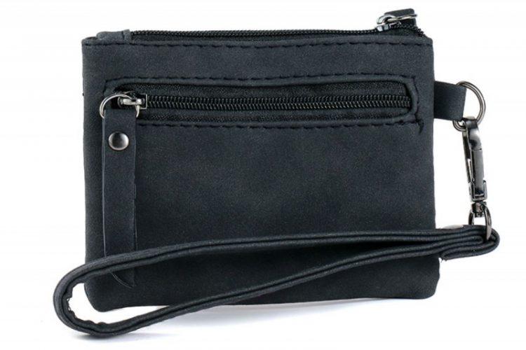 Kleine zak portemonnee panter vachtje zwart wit achterkant
