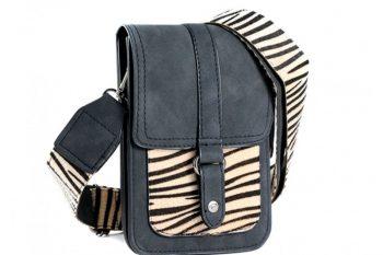 Klein tasje met zebra vachtje zwart voorkant