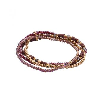 Biba armbanden 4 stuks rood tint goudkleurig