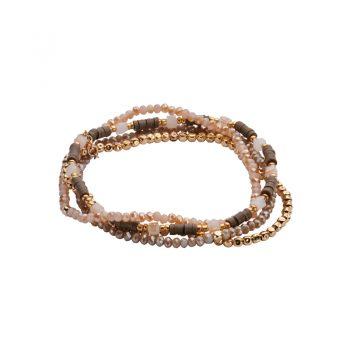 Biba armbanden 4 stuks licht grijs goudkleurig