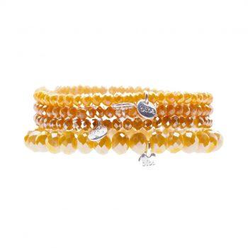 Biba kralen armbanden oranje geel tinten 4 delig