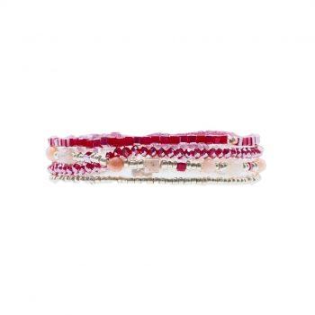 Biba armbanden 4 stuks rood zilverkleurig