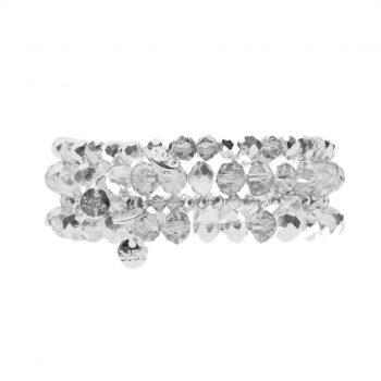 Biba kralen armbanden zilverkleurig-transparant 4 delig set 171