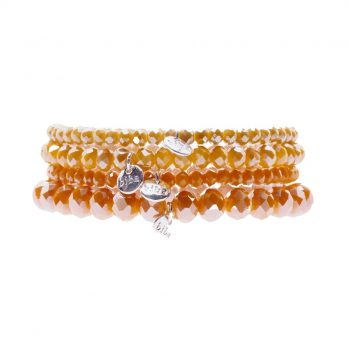Biba kralen armbanden oranje geel 4 delig