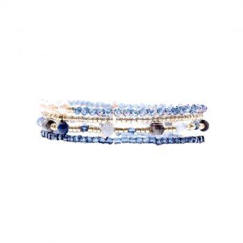 Biba armbanden 4 stuks blauw zilverkleurig