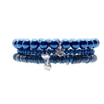 Biba kralen armbanden patrol-blauw 3 delig
