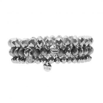 Biba kralen armbanden grijs 3 delig set 172