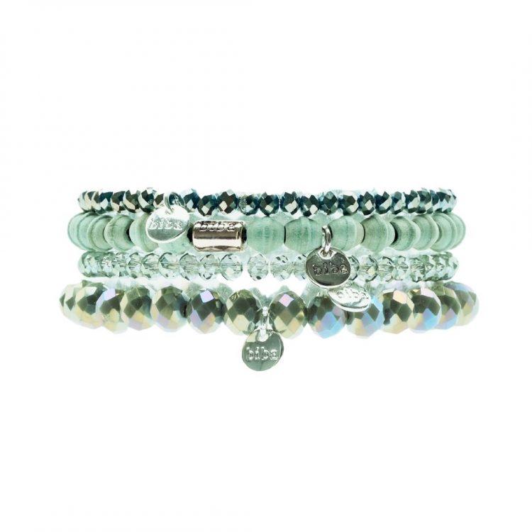 Biba kralenarmbanden licht groene 4 delig