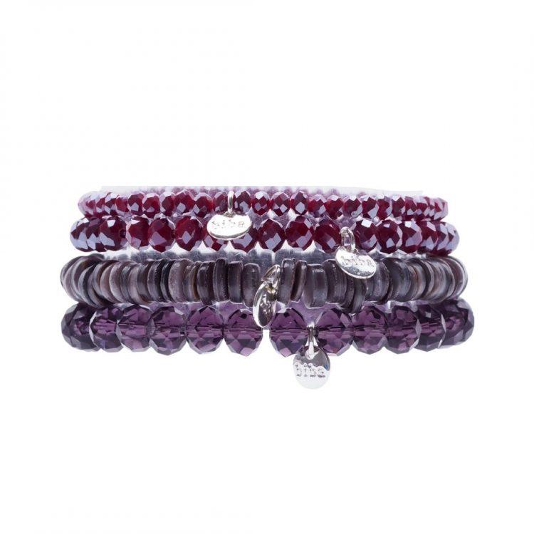Biba kralenarmbanden 4 delig paars