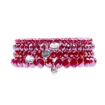 Biba kralen armbanden warm rood 4 delige set