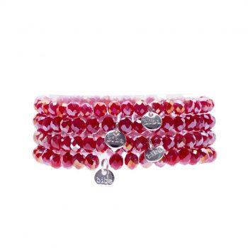 Biba kralen armbanden rood tinten 4 delig 168