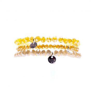 Biba kralenarmbanden voor kinderen geel tinten 3 delig