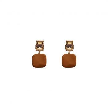 Biba oorbellen Cathy vierkante hanger bruin