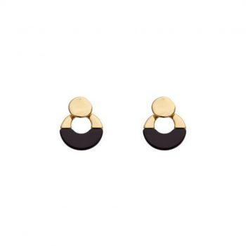 Biba oorbellen Cicile zwart goudkleurig