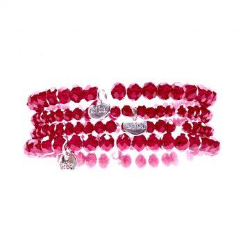 Biba kralenarmbanden voor kinderen rood 4 delig